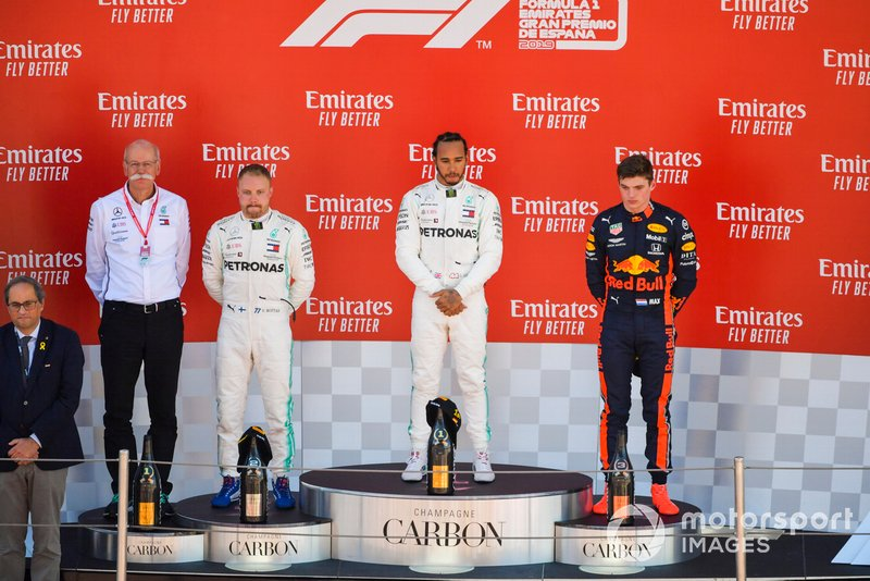 Dr Dieter Zetsche, CEO, Mercedes Benz,Valtteri Bottas, Mercedes AMG F1, 2nd position, Lewis Hamilton, Mercedes AMG F1, 1st position, and Max Verstappen, Red Bull Racing, 3rd position, on the podium