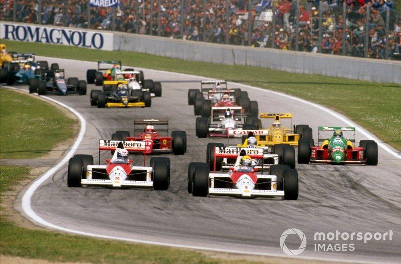 Premier départ : Ayrton Senna devant Alain Prost, McLaren MP4/5
