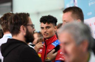 Pascal Wehrlein, Mahindra Racing, talks to the press