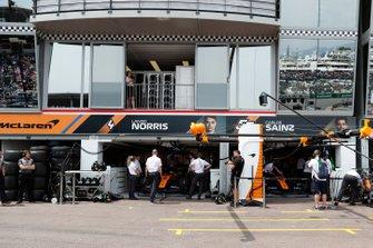 The McLaren garage