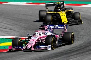 Sergio Perez, Racing Point RP19,leads Nico Hulkenberg, Renault F1 Team R.S. 19