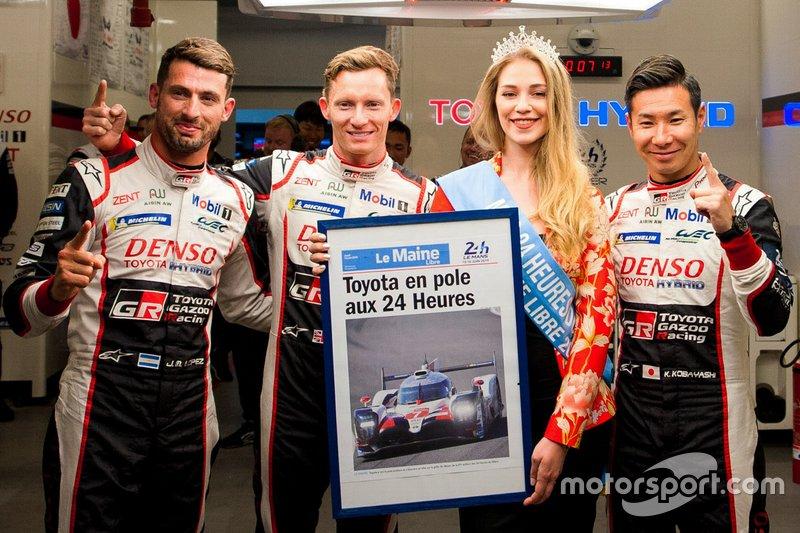 Ganadores de la pole #7 Toyota Gazoo Racing Toyota TS050: Mike Conway, Kamui Kobayashi, Jose Maria Lopez