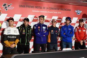 Alvaro Bautista, Angel Nieto Team, Johann Zarco, Monster Yamaha Tech 3, Valentino Rossi, Yamaha Factory Racing, Marc Marquez, Repsol Honda Team, Alex Rins, Team Suzuki MotoGP, Jorge Lorenzo, Ducati Team