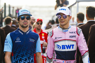 Lance Stroll, Williams Racing and Esteban Ocon, Racing Point Force India