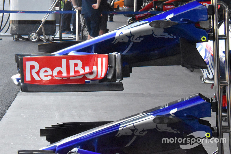 The new front wing briefly tested by Toro Rosso in the US was not raced, but it now features an additional flap at the back of the endplate.