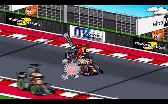 El adelantamiento fallido de Hamilton a Verstappen en GP de Estados Unidos, según MiniDrivers