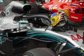 helmet of Lewis Hamilton, Mercedes AMG F1 W09 EQ Power+ in Parc Ferme