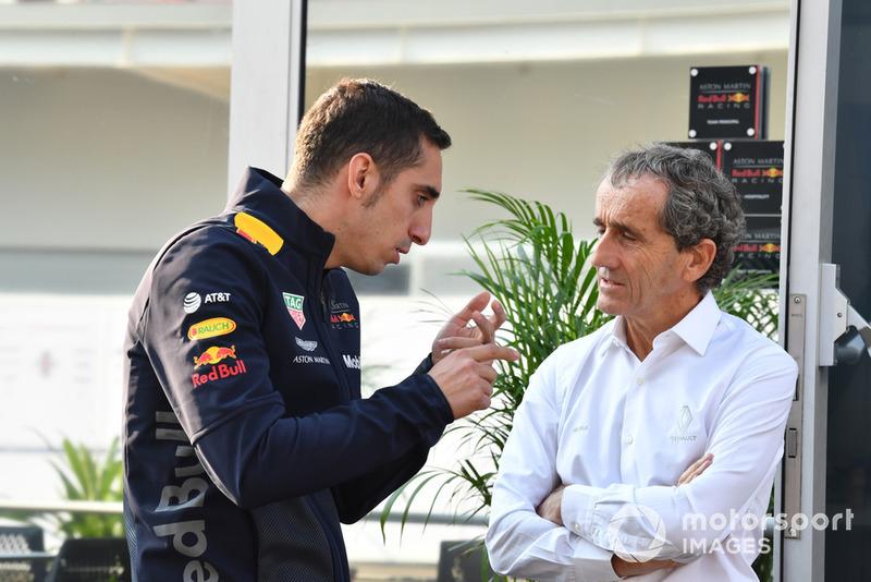 Sebastien Buemi and Alain Prost, Renault Sport F1 Team Special Advisor