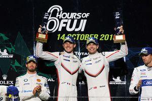 Podium GT Pro: winnaars #92 Porsche GT Team Porsche 911 RSR: Michael Christensen, Kevin Estre