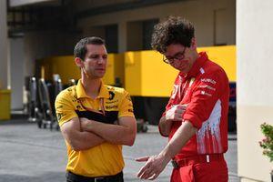Remi Taffin, Head of Renault Sport F1 Track Operations and Mattia Binotto, Ferrari Chief Technical Officer