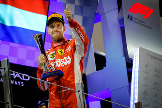 Sebastian Vettel, Ferrari SF71H, 2nd position, with his trophy