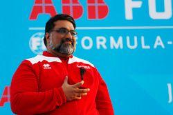 Dilbagh Gill, Team Principal, Mahindra Racing, sur le podium