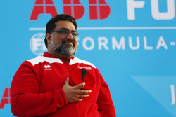 Dilbagh Gill, CEO, Team Principal, Mahindra Racing, on the podium