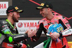 Podium: race winner Marco Melandri, Aruba.it Racing-Ducati SBK Team, second place Tom Sykes, Kawasaki Racing