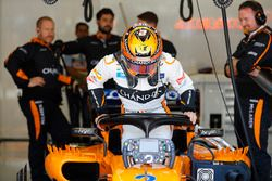 Stoffel Vandoorne, McLaren, stapt in de auto
