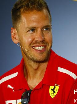 Sebastian Vettel, Ferrari, nella conferenza stampa
