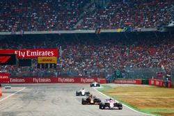 Esteban Ocon, Force India VJM11, leads Daniel Ricciardo, Red Bull Racing RB14