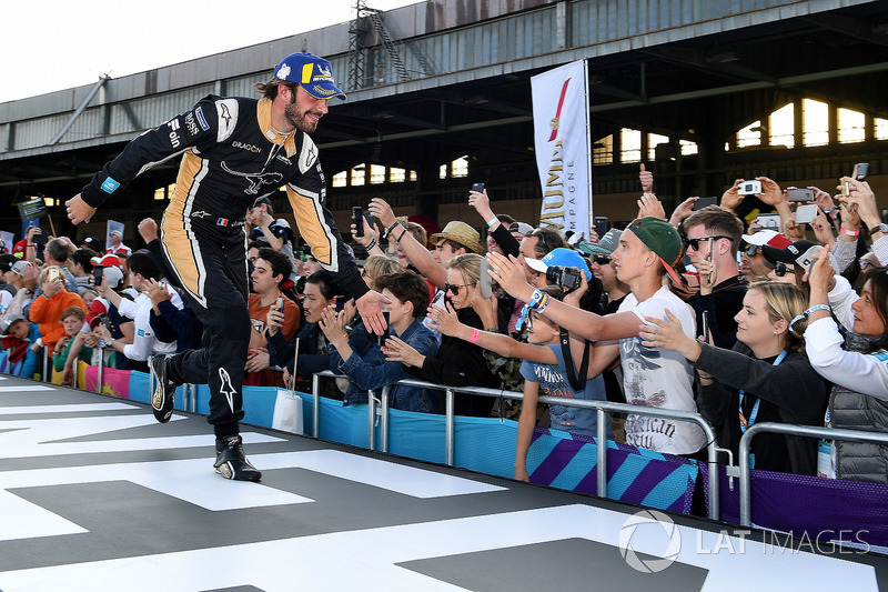 Jean-Eric Vergne, Techeetah, makes his way to the podium after securing 3rd