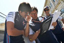 Lance Stroll, Williams Lance Stroll, Williams en Luca Baldisserri, Williams Race Engineer