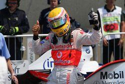 Lewis Hamilton, McLaren, celebrates his first pole position