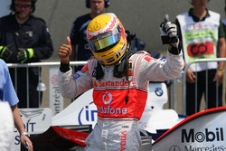 Lewis Hamilton, McLaren, celebrates his first pole position