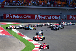 Felipe Massa, Ferrari 248 F1 leads at the start