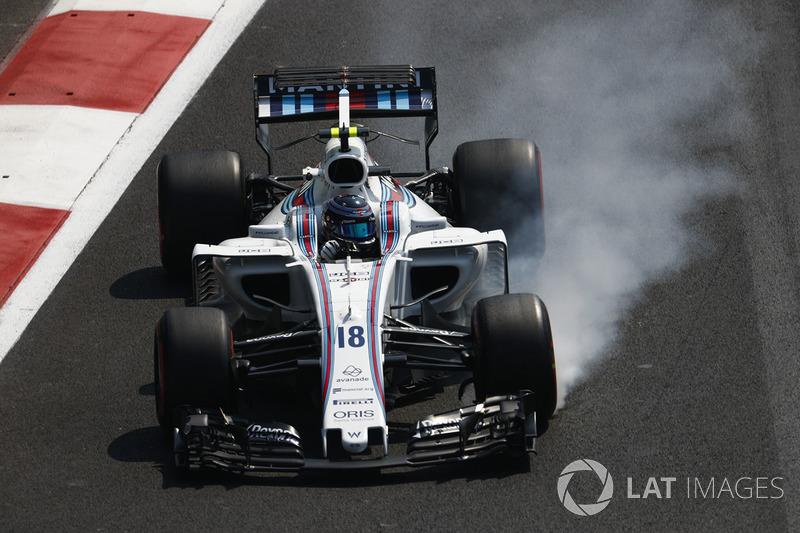 Lance Stroll, Williams FW40, locks up