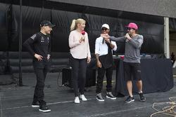 Valtteri Bottas, Mercedes AMG F1, Lewis Hamilton, Mercedes AMG F1, Fernando Alonso, McLaren, on the F1 stage