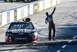 Clint Bowyer, Stewart-Haas Racing, Ford Fusion Haas Automation Demo Day, celebrates after winning