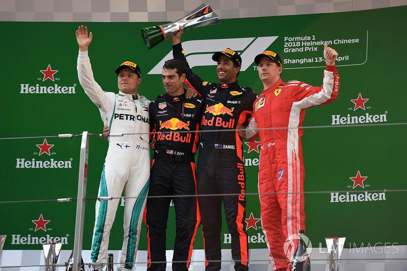 2018: 1. Daniel Ricciardo, 2. Valtteri Bottas, 3. Kimi Raikkonen