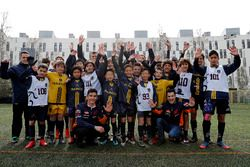 Marc Marquez, Dani Pedrosa, Repsol Honda Team witj young football players