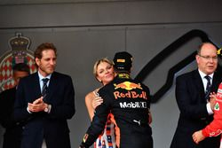 Race winner Daniel Ricciardo, Red Bull Racing celebrates on the podium with Princess Charlene of Monaco, Charlene Wittstock