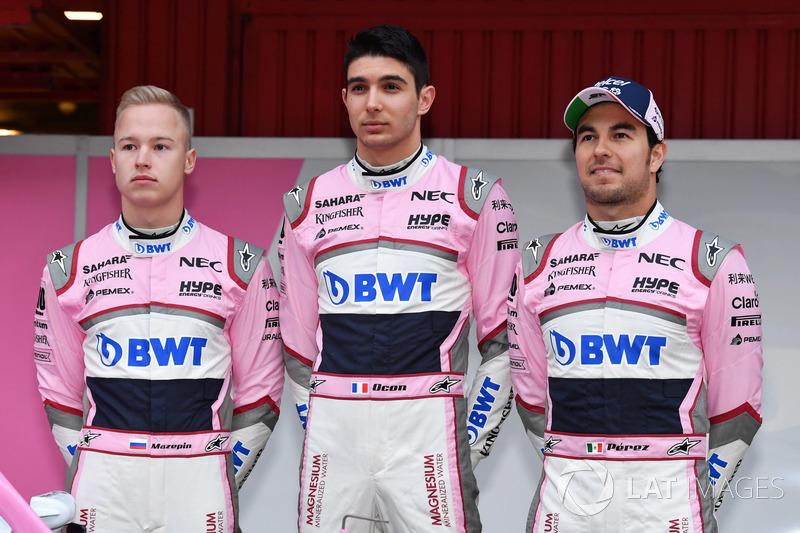 Nikita Mazepin, Sahara Force India F1, Esteban Ocon, Sahara Force India F1 y Sergio Pérez, Sahara Force India