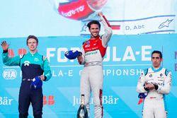 Daniel Abt, Audi Sport ABT Schaeffler, celebrates on the podium with Oliver Turvey, NIO Formula E Te