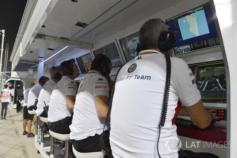 Le muret des stands de l'équipe Sauber