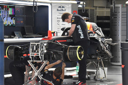 Red Bull Racing team members at work