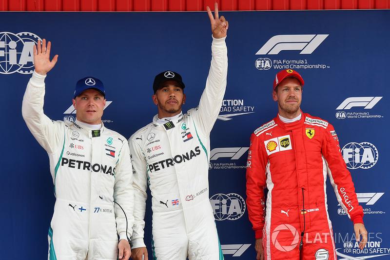 I primi 3 qualificati: il poleman Lewis Hamilton, Mercedes AMG F1, il secondo qualificato Valtteri Bottas, Mercedes AMG F1, il terzo qualificato Sebastian Vettel, Ferrari