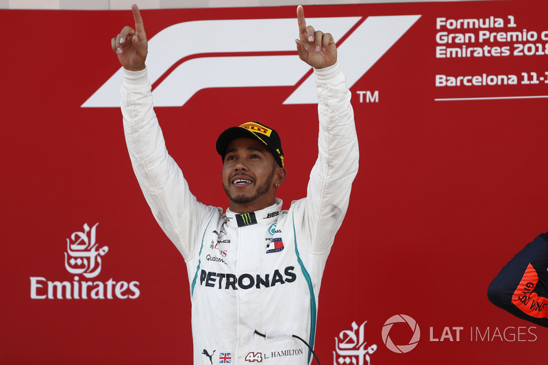 Lewis Hamilton, Mercedes AMG F1, celebrates victory on the podium