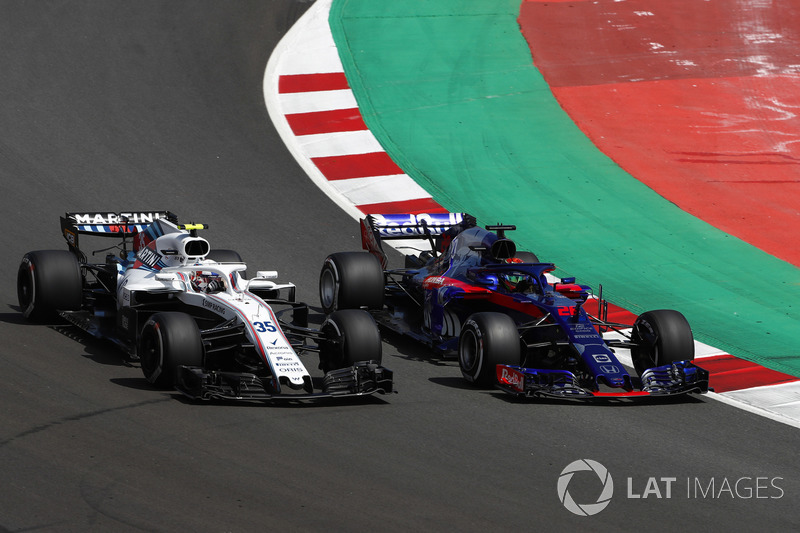 Sergey Sirotkin, Williams FW41, lotta con Brendon Hartley, Toro Rosso STR13