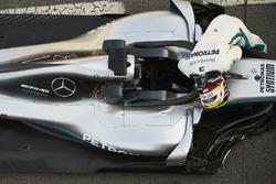 Lewis Hamilton, Mercedes AMG F1, climbs out of his car