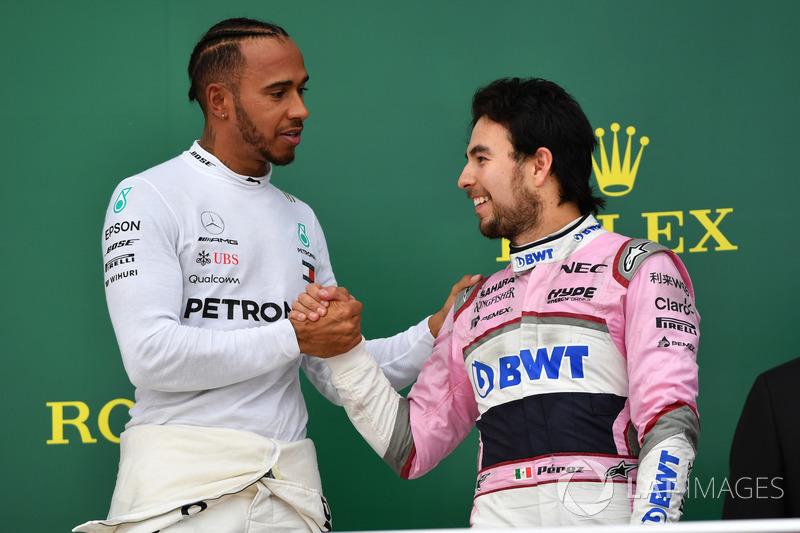 Lewis Hamilton, Mercedes-AMG F1 és Sergio Perez, Force India