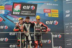 Podio 250: il secondo classificato Alberto Surra, 2 Wheels Polito, il vincitore Davide Cangelosi, 3570 MTA, il terzo classificato Francesco Mongiardo, Kuja Racing Beon
