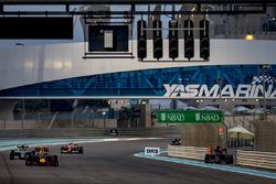 Max Verstappen, Red Bull Racing RB12, leads Nico Rosberg, Mercedes F1 W07 Hybrid, and Kimi Raikkonen