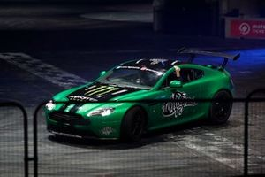 David Croft, Sky TV is delivered by a stunt driver to the Live Action Arena