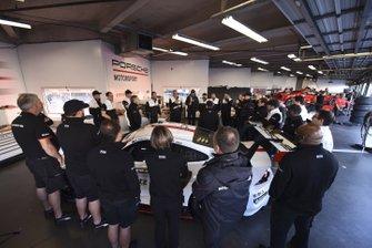 #912 Porsche GT Team Porsche 911 RSR - 19, GTLM: Laurens Vanthoor, Earl Bamber, Mathieu Jaminet, #911 Porsche GT Team Porsche 911 RSR - 19, GTLM: Matt Campbell, Nick Tandy, Fred Makowiecki - pre race team meeting.