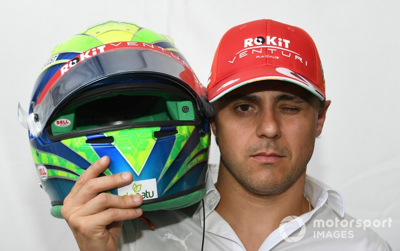 Felipe Massa, Venturi, with his drivers-eye-view helmet camera