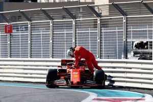 Sebastian Vettel, Ferrari SF90, crash