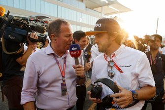 Martin Brundle of Sky talks to Fernando Alonso