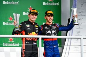 Race winner Max Verstappen, Red Bull Racing and Pierre Gasly, Toro Rosso celebrate on the podium