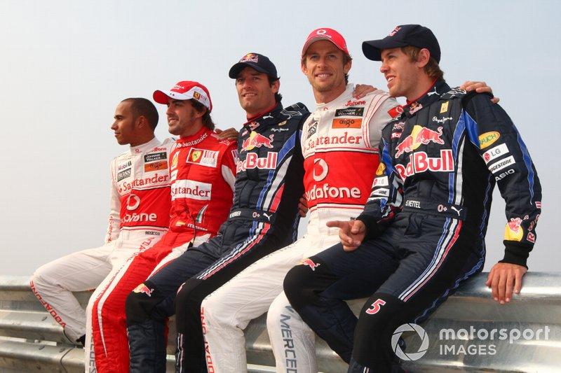 Lewis Hamilton, McLaren, Fernando Alonso, Ferrari, Mark Webber, Red Bull Racing, Jenson Button, McLaren e Sebastian Vettel, Red Bull Racing